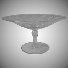 Antique Arts Crafts Motif Needle Etched Glass Compote Handsome