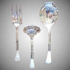 ca 1920 Mother Of Pearl Handle Serving Spoon Fork Gravy Ladle Antique