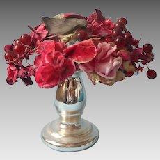 Vintage Hat Glass Berries Red Wine Color Velvet Satin TLC