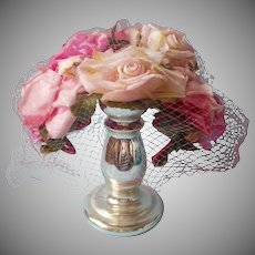 Vintage Hat Loaded With Pink Roses Veil Clamp Style