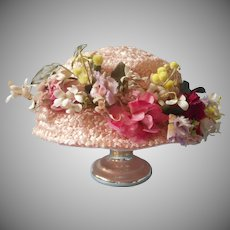Vintage Hat Pink Artificial Straw Lots of Velvet Flowers