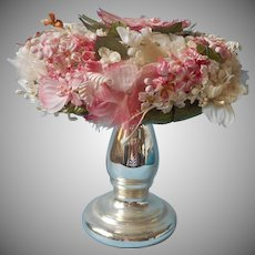 Vintage Hat Pink Flowers Flat Round Union Label