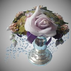 Vintage Hat Purple Rose Velvet Ribbon Pink Cherry Blossoms