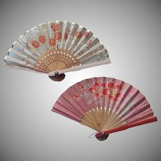 Doll Size Fan Fans Very Vintage Paper and Silk Wood Painted
