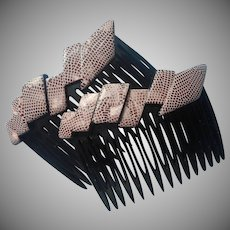 1970s French Side Hair Combs Pair Made In France