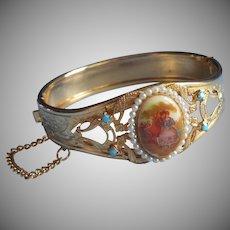 Vintage Bracelet Hinged Bangle Porcelain Faux Seed Pearls Turquoise