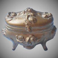 Jewelry Casket Box Art Nouveau Antique 1904 Roses Peach Pink Lining