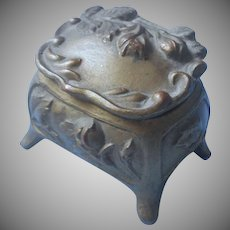 Ring Box Art Nouveau Jewelry Casket Antique Roses No Lining