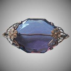 1920s Pin Purple Glass Stone Brass Filigree Vintage A Bit TLC