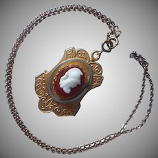 Victorian Hidden Locket Glass Cameo Antique Necklace On Chain