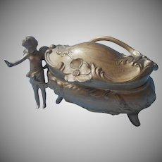 Art Nouveau Cherub Cupid Jewelry Casket Box Antique