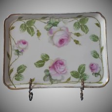 China Vanity Tray Antique Pink Roses Prussia 1910s