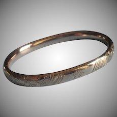 Monogram S Gold Filled Hinged Bangle Bracelet Antique Small Petite
