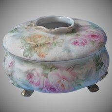 Rose Tapestry Royal Bayreuth Hair Receiver Vanity Jar Antique China TLC