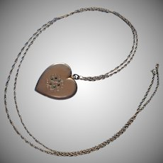 Antique Locket Heart Shape Green Stones 1903 Long Doubling Chain Necklace