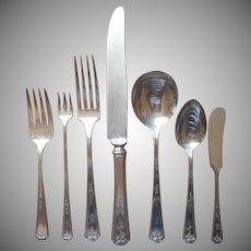 Monogram B Service For 12 Queen Bess 1924 Vintage Silver Plated Flatware