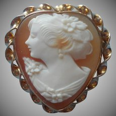 1920s Cameo Heart Shaped Gold Filled Pin Pendant Vintage Loop For Necklace