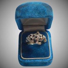 Jaguar Leopard Ring Vintage Costume Rhinestones Black Glass 8