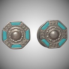 1920s Snap Cufflinks Vintage Mother Of Pearl Turquoise Enamel
