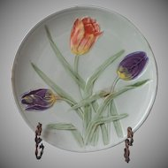 Faience Plate Aqua Green Tulips Antique Zell Germany Majolica