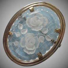 Lucite Pin Vintage Unusual One Lacy White Roses
