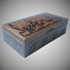 Japanned Brass Box Wood Lined Vintage Engraved Black Red