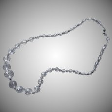 Sterling Silver Chain Strung Cut Crystal Beads Necklace ca 1930 Vintage