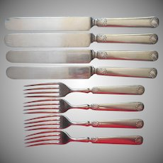 Antique Shell Tip Silver Plated 4 Knives 4 Forks Classic Simple
