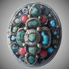Turquoise Coral Vintage Boho Ring Huge Adjustable Size