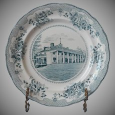 Buffalo Pottery Green Transferware China Historical Plate Antique Mt. Vernon