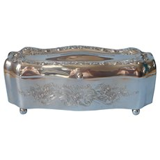 Antique Silver Plated Jewelry Casket Vanity Box ca 1910 Biggins Rodgers