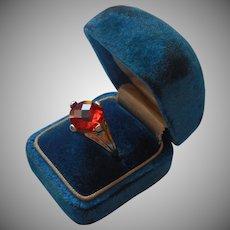 Sterling Vermeil Ring Orange Glass Stone Vintage 1990s 5.5 to 6