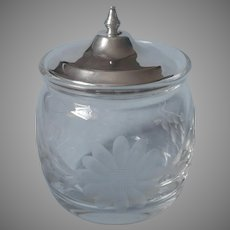 Sterling Silver Crystal Antique Jam Pot For Bed or Breakfast Tray