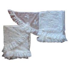 Curtain Side Panels Narrow Long 118 x 17 Vintage Net Lace