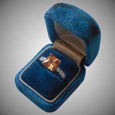 Sterling Silver Ring Faux Orange Stone CZ Faux Diamonds 8