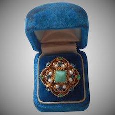 Florenza Ring Adjustable Vintage ca 1960 Signed Needs Stone TLC