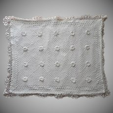 Crocheted Pillow Cover Vintage 1980s Standard Bed Pillow Size