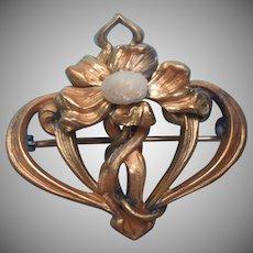 Chatelette Watch Pin Antique Locket Hanger Art Nouveau Faux River Pearl