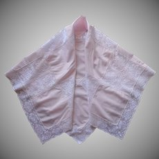 Pink White Tablecloth Square Vintage 1960s Lace Army Navy