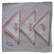 Tea Napkins Pink Crocheted Lace  Roses Vintage White Cotton