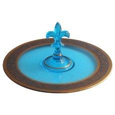 1920s Fostoria Center Handle Serving Plate Blue Fleur de Lis Handle Gold Encrusted Rim Vintage