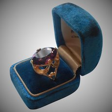 1970s Ring 18K Gold Plated Purple Glass Faux Amethyst Vintage 7.5 to 8