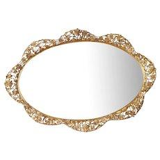 Signed Matson Big Vanity Mirror Perfume Tray Cosmos 362 Vintage Ornate Ormolu Metal