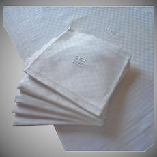 French Monogram M.B. Antique Napkins 6 Big Informal Damask 26 x 23