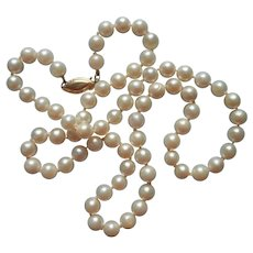 Cultured Pearls 5 mm Necklace 18 Inches 14K Gold Clasp Vintage