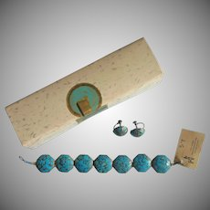 1950s India Mosaic Inlaid Bracelet Earrings Vintage Brass Turquoise Color