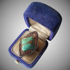 Barse Sterling and Copper Turquoise Ring Filigree 6.5 or 7 Thailand