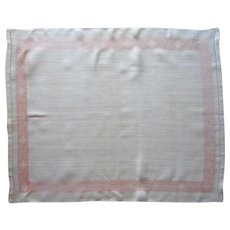 1920s Linen Peach Natural Towel Or Use As Large Tray Cloth