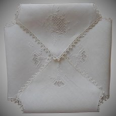 1920s Italian Bread Basket Liner Roll Cozy Hand Embroidered Lace Linen