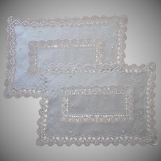 Pair Tray Cloth Cloths Vintage Bobbin Lace Cotton Hand Embroidery